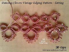 Tatting Patterns I : 4 Vintage Edgings. Dancing Clovers Edging Sampler with inked pattern