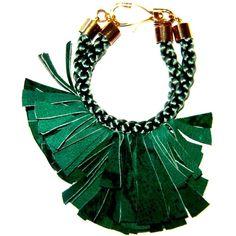 Elvira Sazesh Emerald Green Suede Bracelet ($71) ❤ liked on Polyvore