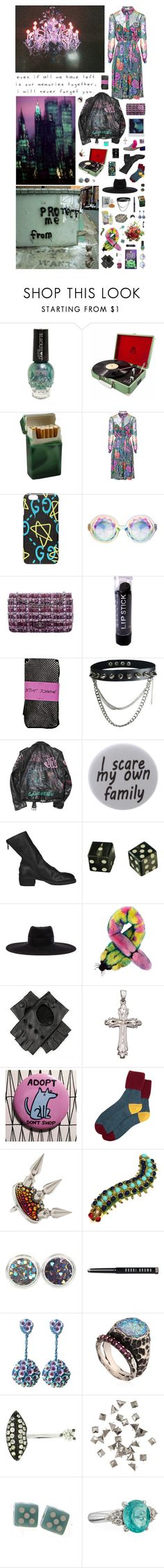 """""""Young girl or really strange woman diving in my punk rainbow: playing with me you'll never find the right card."""" by nothingisnormal ❤ liked on Polyvore featuring Matthew Williamson, Gucci, Chanel, Betsey Johnson, Humör, Guidi, Maison Michel, Liska, Black and BillyTheTree"""