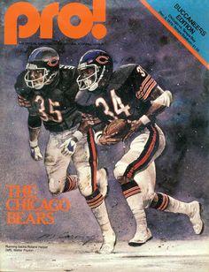 Bears 1979 NFL Program featuring running backs Roland Harper and Walter Payton. Cover illustration by Merv Corning.