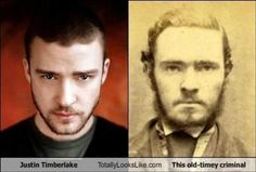 Justin Timberlake looks like this anonymous criminal - Photos Of Famous People That Prove Time Travel Is Possible Best of Web Shrine Justin Timberlake, Alec Baldwin, Nicolas Cage, John Travolta, Chuck Norris, Leonardo Dicaprio, Celebrity Look, Celebrity Photos, Celebrity Doppelganger