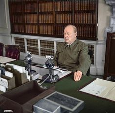 <p><i>British wartime leader Sir Winston Churchill makes a radio address from the Cabinet Room at 10 Downing Street.</i></p>