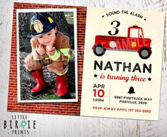 FIRETRUCK INVITATION for BIRTHDAY PARTY    Get Fired Up! Your little boy will love his firetruck birthday party invitation! It comes