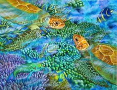 "Carolyn Steele tropical art print with sea turtles: ""Reef Encounter"""