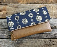 Blue and Beige ikat Foldover Clutch / Kindle Case by SweetPeaTotes, $36.00