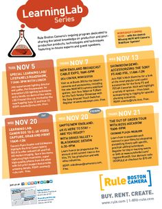 Check out these November events at Rule Boston Camera and on location!  RSVP or Register now!