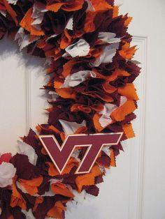 Virginia Tech Hokies Fabric wreath - I need to make this next!