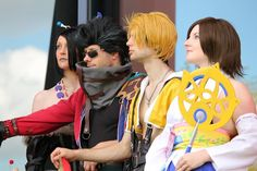 Final Fantasy X Cosplay. Dzerena as Yuna, Toon as Tidus, Michael as Auron, me as Lulu