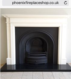 Excellent Photos white Fireplace Hearth Popular Installation of a Crown cast iron insert with a Limestone mantel and granite hearth. Fireplace Hearth Stone, Cast Iron Fireplace Insert, Small Fireplace, White Fireplace, Fireplace Inserts, Living Room With Fireplace, Fireplace Surrounds, Fireplace Design, My Living Room