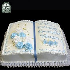Communion 3085 - Oak Mill Bakery - European Style Baked Goods Boys First Communion Cakes, Boy Communion Cake, Wedding Sheet Cakes, Wedding Cake Toppers, Adoption Cake, Open Book Cakes, Comunion Cakes, Bible Cake, Fondant Cake Designs