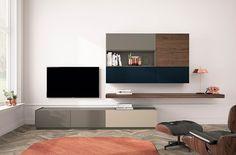 Salones modernos con composiciones modulares. Diseña tu propio salón. Modern living room ideas. Acabado: tundra mate, nogal natura, blue mate y safari mate. Relax, Minimalist Chic, Chic Living Room, Tv Cabinets, Tv Unit, Modern Design, Shelves, Fancy, Wall