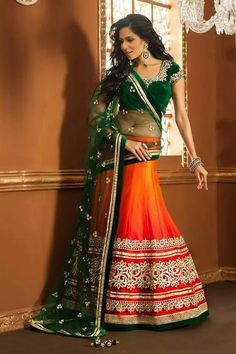 green & orange lehnga
