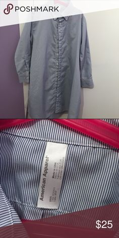 american apparel button up dress shirt xs/small size. looks like a mens button up but just fits your body a lot better because its meant to be a dress. comes with a cloth belt string thing you can tie around as well. cheaper on Ⓜ️ American Apparel Dresses