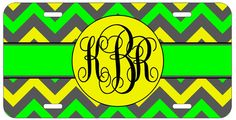 Personalized Monogrammed Chevron Green Yellow License Plate Custom Car Tag L439