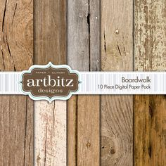 "Boardwalk, Vol. 1 10 Piece Wood Texture Digital Scrapbooking Paper Pack, 12""x12"", 300 dpi .jpg. $4.00, via Etsy."