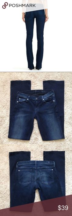 """7 For All Mankind Jeans 7 For All Mankind """"Skinny Bootcut"""" Jeans. These are 98% cotton, 2% spandex, a soft denim. Measurements are waist laying flat 15"""" across, Rise 8"""", Inseam 32"""" inches. Jeans are a dark wash with faded details down the front of the thighs and back pockets. Great condition!!!!💙 7 For All Mankind Jeans"""