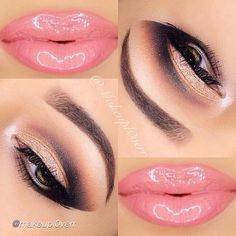 Brown and Gold Cut Crease with Pink Lips