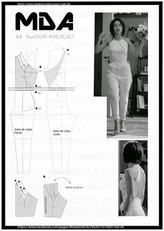 Illustration showing how to create the pattern for this jumpsuit Diy Clothing, Sewing Clothes, Clothing Patterns, Dress Patterns, Sewing Patterns, Sewing Hacks, Sewing Tutorials, Sewing Projects, Techniques Couture