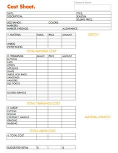 cost sheet example for developing apparel prodcut. - Business Plan - Ideas of Tips On Buying A House - cost sheet example for developing apparel prodcut. Etsy Business, Craft Business, Business Planning, Business Tips, Business Marketing, Sewing Hacks, Sewing Tutorials, Sewing Projects, Cost Sheet