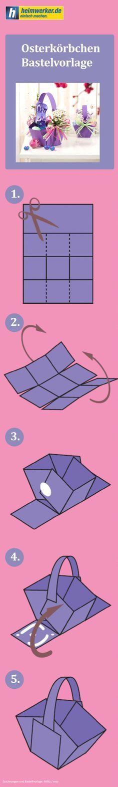 Bastelvorlage für ein Osterkörbchen mit Schritt-für-Schritt-Bastelanleitung. Bastelbogen für einen Osterkorb.