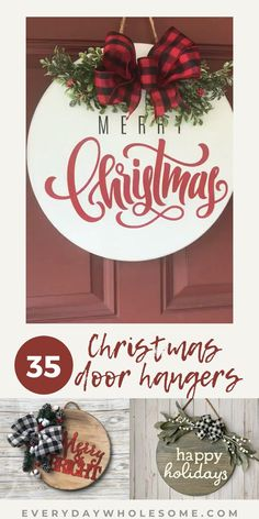 35 Christmas Front Door Hangers Ideas - wreaths, holiday, joy, wood sign, home decor, winter, bows