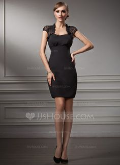Sheath/Column Sweetheart Short/Mini Chiffon Lace Cocktail Dress (016021212) - JJsHouse