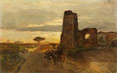 Oswald Achenbach - Brunnen an der Via Appia (Ölstudie)