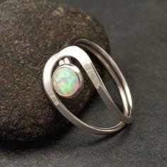 FAVORITE!!Opal Ring- Silver Opal Ring- Gemstone Ring- Sterling Silver Stone Ring- handmade sterling silver jewelry: sizes 4 -10. $48.00, via Etsy.