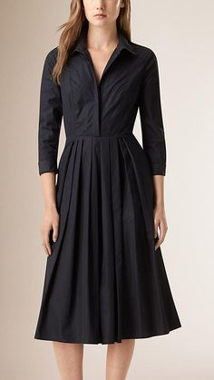 Nanquim Vestido de algodão com detalhe plissado - Imagem 1