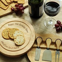 Picture of Personalised Wooden Round Cheese Board set