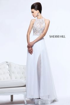 2013 Sherri Hill 21110 White Nude Homecoming Dresses