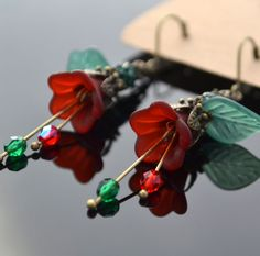 Dark Red Lucite Flower Czech Glass Crystal Ball Rhinestone Emerald Leaf Earrings #Handmade #DropDangle