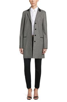 'Culani' | Stretch Virgin Wool Blend Car Coat, Patterned