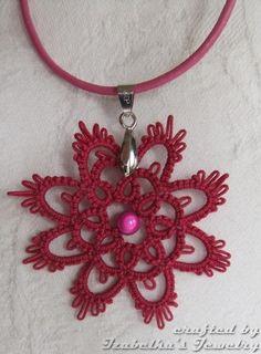 Dark pink tatted flower pendant