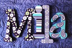 wall letters decor for nursery   Wooden Wall Letters Name Monogram Initials Whimsical Nursery Decor ...