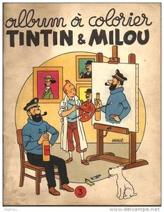 """"""" """"Cover illustration for one of the Tintin colouring books """" Tintin painting a portrait of Captain Haddock. I like how Tintin replaces Haddock's whisky bottle with a spyglass in. Fox Terriers, Wire Fox Terrier, Haddock Tintin, Tin Tin Cartoon, Character Concept, Character Design, Captain Haddock, Herge Tintin, Homemade Art"""