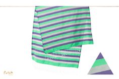 Zavial_Verde e Roxo Beach Mat, Outdoor Blanket, Green And Purple, Beach, Towels