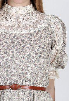 vtg 70s Cream Gunne Sax Dress Calico Floral Sheer Lace Boho Wedding Hippie Maxi