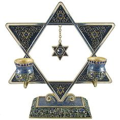 Gorgeous Blue Star of David Shabbat Candle Holder Embellished with Genuine Crystals Comes in a Beautiful Gift Box, http://www.amazon.com/dp/B013L0ZO4W/ref=cm_sw_r_pi_awdm_x_vAqXxb8KJ89AQ