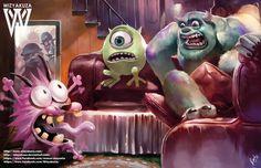 Monstruos Inc. vs coraje el perro cobarde - la película Crossover - impresión Digital de 11 x 17