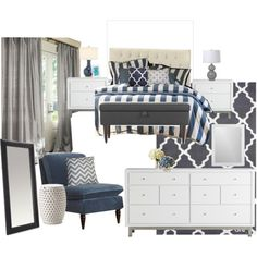 Classic Gray and Navy Bedroom. Wish the comforter was gray. Then it would be perfect