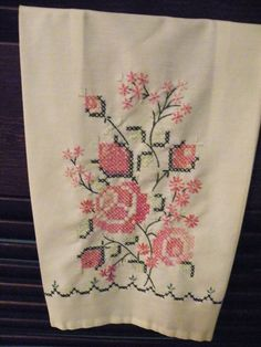 cross stitch hand towel