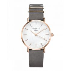 Gold ladies watch West Village - grey strap | ROSEFIELD Watches