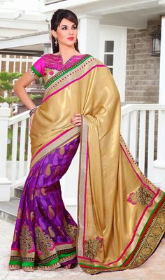Gold Color and Violet Georgette Satin Half N Half Saree Price: Usa Dollar $121, British UK Pound £71, Euro89, Canada CA$131 , Indian Rs6534.