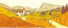 Simplified landscapes with Blender by Pierre-Abraham Rochat Landscape Quilts, Landscape Drawings, Art And Illustration, Minimal Art, Fantasy Art Landscapes, Ligne Claire, Realistic Paintings, Environment Concept Art, Environmental Art