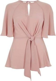1f907d1055c Light pink tie front short sleeve blouse - Blouses - Tops - women