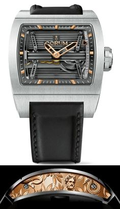 Corum Ti Bridge Power Reserve - has a titanium case with red gold inserts on the side which are hand engraved to depict Asclepius, the Greek god of medicine, and the serpent twined around his staff that has become the symbol of medicine