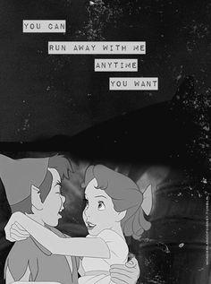 My Chemical Romance lyrics- Peter Pan and Wendy. Can i run away with you peter? Citations Disney, Frases Disney, Disney Poems, Arte Disney, Disney Magic, My Chemical Romance, Disney And Dreamworks, Disney Pixar, Disney Peter Pan