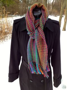 Houndstooth Striped Wool Scarf Woven by IntermezzoHandmade on Etsy, $75.00