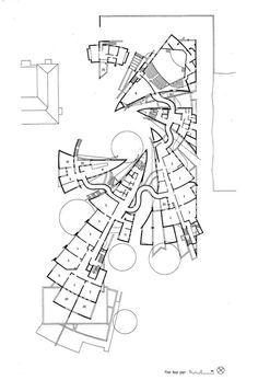 Heinz Galinski Schule, Berlin by Zvi Hecker Architecture Concept Diagram, Unique Architecture, Urban Concept, Deconstructivism, Library Design, Technical Drawing, How To Plan, Primary School, Thesis